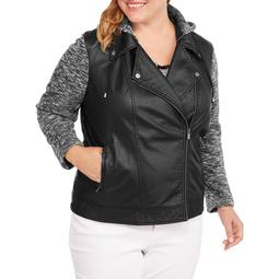 Women's Plus-Size Faux Leather Moto Jacket with Layered Fleece Look