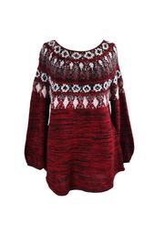 Style Co Plus Size Red Amore Combo Space-Dyed Fair Isle Sweater  3X
