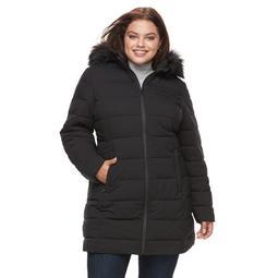 Plus Size Apt. 9® Stretch Hooded Faux-Fur Trim Puffer Jacket