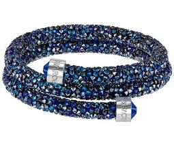 Crystaldust Double Bangle, Blue, Stainless steel