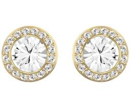 Angelic Pierced Earrings, White, Gold Plating