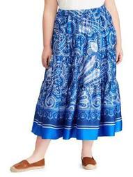 Plus Paisley-Print Twill Maxi Skirt