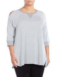 Plus Striped Dolphin-Hem Top