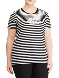 Plus Logo Striped Cotton Jersey Tee