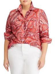 Plus Paisley-Print Button-Down Shirt