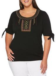 Plus Embroidered Tie Sleeve Top