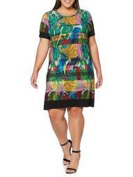 Plus Botanical-Print A-Line Dress