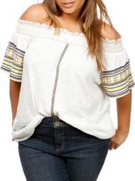 Plus Embroidered Cotton Off-The-Shoulder Top