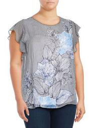 Plus Graphic Flutter-Sleeve Top