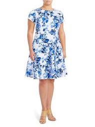 Plus Floral Fit-And-Flare Dress