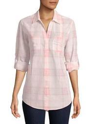 Plus Roll-Tab Plaid Shirt