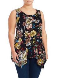 Plus Sleeveless Floral-Printed Top