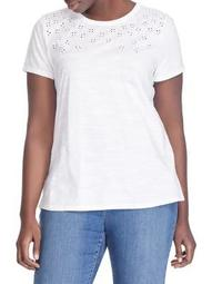 Plus Eyelet-Embroidered Cotton Tee