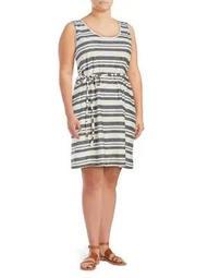 Plus Lessi Sleeveless Tied Stripe Dress