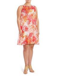 Plus Palm-Print Trapeze Dress