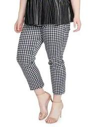 Plus High-Waist Pedal Pusher Gingham Pants