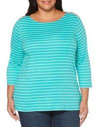 Plus Boatneck Double-Stripe Cotton Blouse