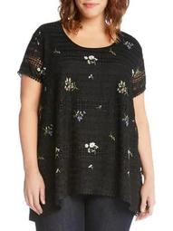 Plus Embroidered Lace Top