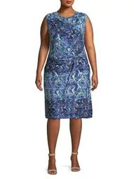Plus Seaside Tile Sheath Dress