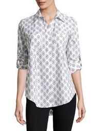 Plus Nancy Tribal Button-Down Shirt