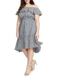 Plus Ava Off-Shoulder Gingham Ruffle Dress