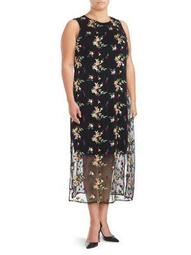 Plus Tropical Embroidered Midi Dress
