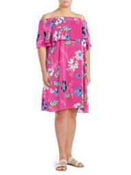 Plus Floral Off-the-Shoulder Dress