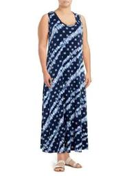 Plus Sleeveless Printed Maxi Dress