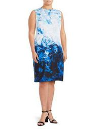 Plus Abstract Floral Sheath Dress