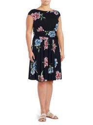 Plus Floral Printed Pleated Dress