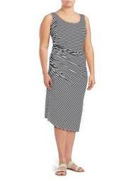 Plus Sleeveless Side-Ruched Midi Dress