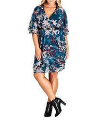 Plus Printed Belted Mini Dress
