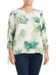 Plus Tropical Drawstring-Sleeve Top