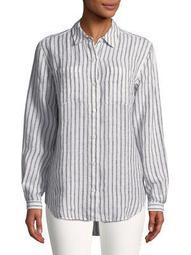 Plus Striped Linen Button-Down Shirt