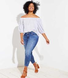 LOFT Plus Star Frayed Skinny Crop Jeans in Classic Mid Indigo Wash