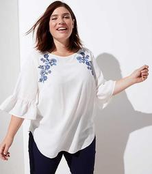 LOFT Plus Floral Embroidered Ruffle Cuff Top