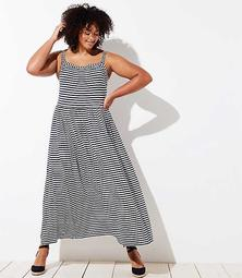 LOFT Plus Striped Strappy Maxi Dress