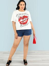 Plus Letter & Red Lip Print Tee