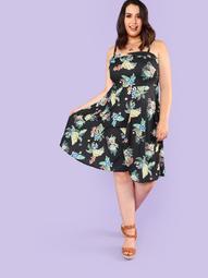 Plus Fruit & Floral Print Cami Dress