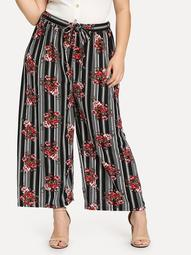 Plus Self Belted Floral & Striped Palazzo Pants