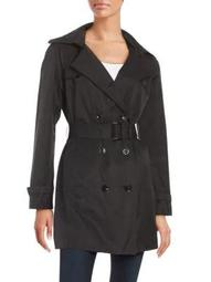 Plus Double-Breasted Trench Coat