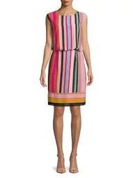 Multicolored Cap-Sleeve Dress