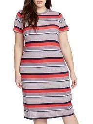 Plus Chalk Striped T-Shirt Dress