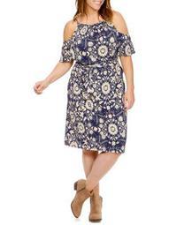 Plus Floral Cold-Shoulder Dress