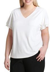 Plus Plus Ruffle Short-Sleeve Top