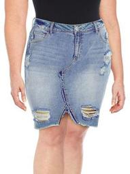 Plus Adorn High-Rise Ripped Denim Skirt