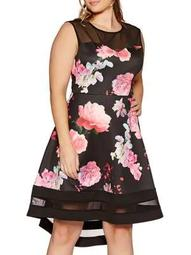 Plus Floral-Print Sweetheart Fit-and-Flare Dress