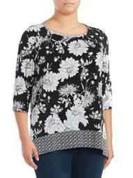 Plus Floral Printed Handkerchief Top