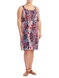 Plus Printed Flounce Dress