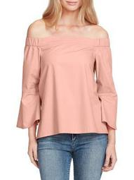 Plus Off-the-Shoulder Bell Sleeve Top